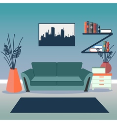 Modern interior living room design vector