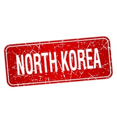 North korea red stamp isolated on white background vector