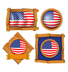 american flag on different frames vector image