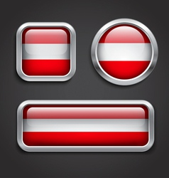 Austria flag glass buttons vector image vector image