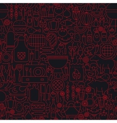 Barbecue grill line seamless pattern vector