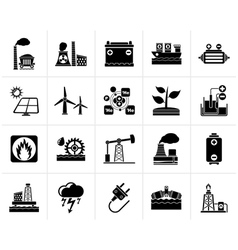 Black electricity and energy source icons vector