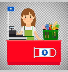 Cashier lady on transparent background vector