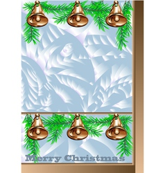 Christmas window with golden bells vector image vector image