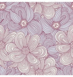 Doodle style flowers seamless pattern floral vector