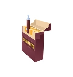Electronic cigarette in a pack of cigarettes icon vector