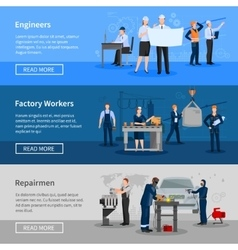 Factory workers horizontal banners vector