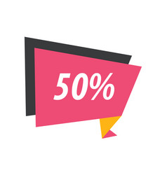 Fifty percent label origami pink yellow black vector