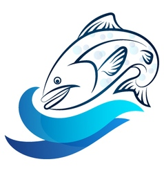 Fish and wave vector image vector image