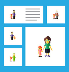 Flat icon people set of daugther son grandpa vector