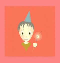 flat shading style icon child sparkler vector image