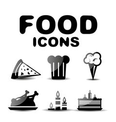 Food black glossy icon set vector image vector image