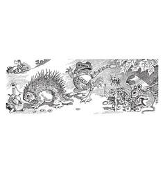 Frog storyteller vintage vector