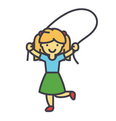 girl with jumping rope concept line icon vector image