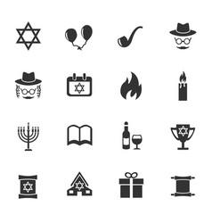 hanukkah icon set vector image vector image