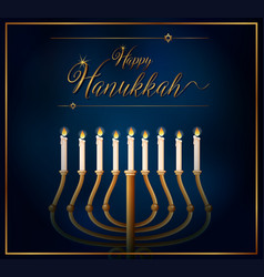 Happy hannukkah card template with candles on vector