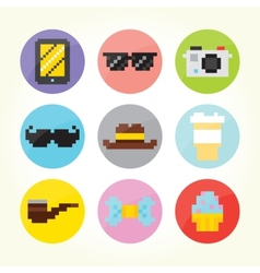 Hipster flat buttons set vector image
