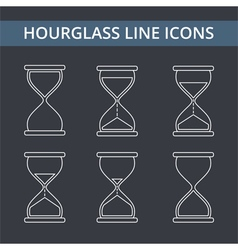 Hourglass Line Icons vector image