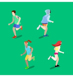 Isometric People Running Man Running Woman vector image vector image