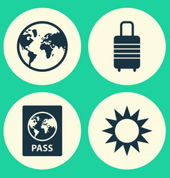 Journey icons set collection of suitcase sunny vector