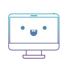 Kawaii desktop computer in degraded blue to purple vector