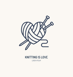 knitting shop line logo yarn store flat sign vector image