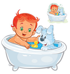 Little baby taking a bath and playing vector