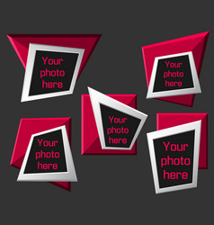 Modern origami geometric pink 3d frames on dark vector