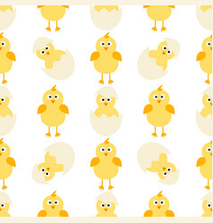 Pattern with little chickens vector