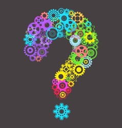 Question mark with cog wheels vector image vector image