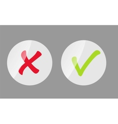 Red and Green Check Mark Icons vector image