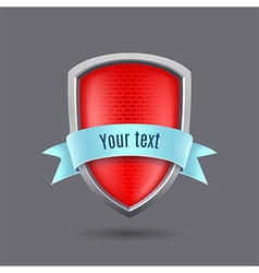 Red glossy metal shield on gray background vector
