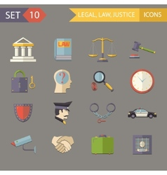 Retro Flat Law Legal Justice Icons and Symbols Set vector image vector image