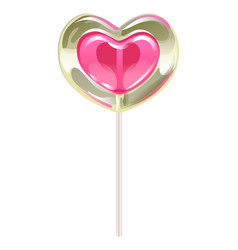 romantic lollipop in the shape of a heart vector image vector image