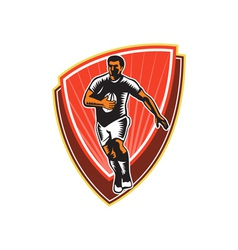 Rugby Player Running Ball Front Woodcut vector image vector image
