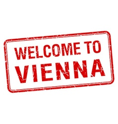 Welcome to vienna red grunge square stamp vector