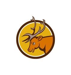 Stag deer buck head circle cartoon vector