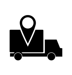 Truck or van with gps map pointer icon vector