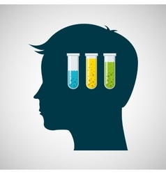 Silhouette head tests tube lab work vector