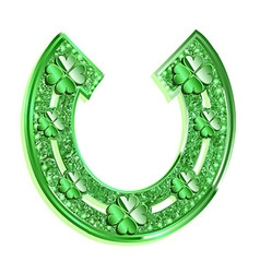 Green horseshoe on a white background vector