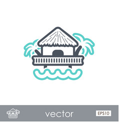 Bungalow with palm trees icon summer vacation vector