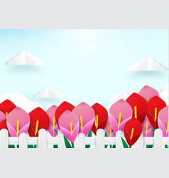 Spring season concept wooden fence and flowers vector