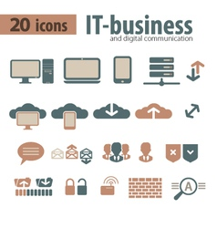 It-bisiness and digital communication icons vector
