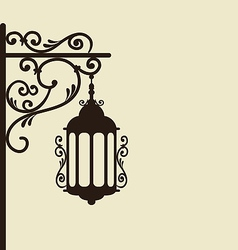 Vintage forging ornate street lantern isolated vector