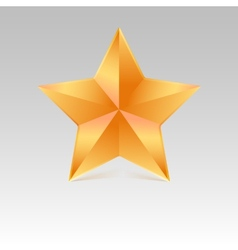Five pointed star with shadow yellow color vector