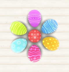 Easter set painted eggs on wooden texture - vector image