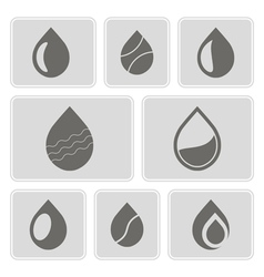 Monochrome icons with water drops vector