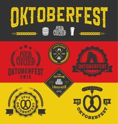 Oktoberfest badge logo and labels set vector