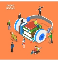 Audio books isometric flat concept vector