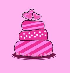 Pink cake valentine and wedding vector